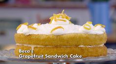 Get Beca's recipe for Grapefruit Sandwich Cake from Season 2 of the Great British Baking Show on PBS Food. I personally would not use all the steps but take the main parts. British Baking Show Recipes, British Bake Off Recipes, Great British Bake Off, Sweet Recipes, Cake Recipes, Dessert Recipes, Desserts, Bbc Recipes, Yummy Recipes