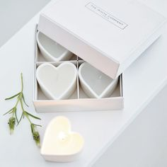 Buy Gifts > Great Ormond Street Charity > Unscented Ceramic Heart Tealights from The White Company Candels, Candle Lanterns, Votive Candles, Scented Candles, Candle Lighting, White Company Gifts, The White Company, Little Presents, Ceramic Candle Holders