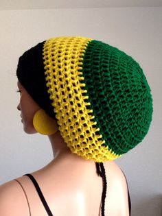 Crochet Rasta Tam with matching Earrings.  Unisex by Africancrab, $30.00