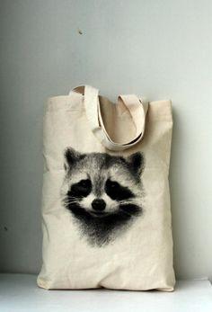 Raccoon tote bag - raccoon screenprinted on nutural cotton canvas tote bag.. $19,99, via Etsy.