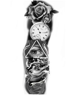 Card Tattoo Designs, Clock Tattoo Design, Tattoo Design Drawings, Tattoo Designs Men, Egyptian Tattoo Sleeve, Realistic Tattoo Sleeve, Full Sleeve Tattoo Design, Skull Girl Tattoo, Skull Tattoos