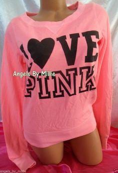 Victorias Secret PINK Medium M Neon Coral Campus Heart Signature Crew Sweatshirt