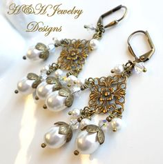 White Swarovski Pearl and Crystal Antique Brass Chandelier Earrings by hhjewelrydesigns on Etsy