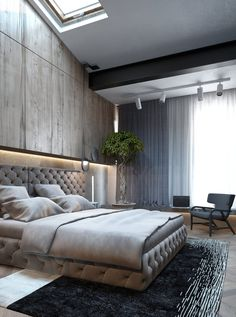 Bedroom with tall skylight. Leave a comment if you know the source.