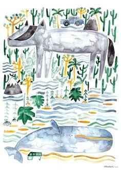 Digitaldruck - Frizzi und Jonas - Poster A2 - ein Designerstück von gretasschwester bei DaWanda