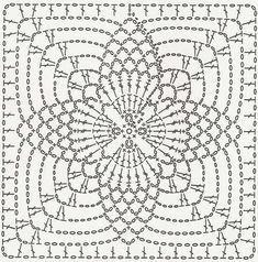 Crochet motifs chart Circular center 4 points ends as a square Crochet Motif Patterns, Crochet Blocks, Crochet Diagram, Crochet Chart, Crochet Squares, Crochet Granny, Filet Crochet, Crochet Designs, Crochet Stitches