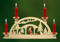 Santa in Forest German Christmas Candle Arch, handcrafted in the Ore Mountains, Germany