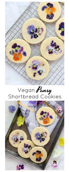 Vegan Pansy Shortbread - Eat. Drink. Shrink. Vegan Sweets, Vegan Desserts, Good Healthy Recipes, Gluten Free Recipes, Vegan Blogs, Vegan Butter, Shortbread, Pansies, Food Print