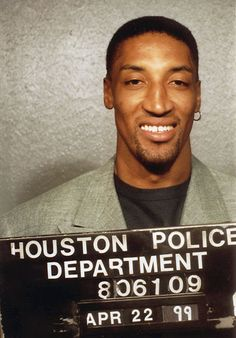 Scottie Pippen Mug shot after an altercation in Houston after a game against the Rockets