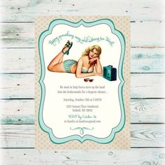 Printable Teal PinUp Bridal Shower Invitation  by BeyondDigital, $20.00