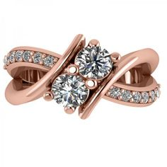 Diamond Bypass Split Shank Two Stone Ring 14k Rose Gold (1.28ct) - Allurez.com