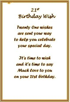 21st Birthday Poems Verses4Cards For Daughter Clipart