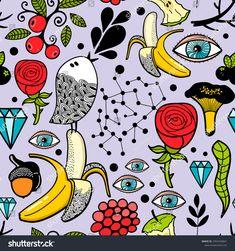 Seamless pattern with human eyes and nature elements. Cartoon vector illustration.  Doodle endless wallpaper with flowers. #illustration #pattern #background #ekapanova #rabbit #doodle #bird #summer #monster