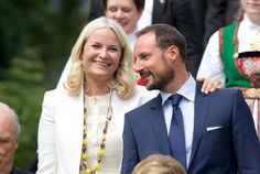 King Harald and Queen Sonja of Norway, Crown Princess Mette-Marit and Crown Prince Haakon of Norway attend a Garden Party at the Royal Residence of Gamlehaugen, on a visit to Bergen, during the King and Queen of Norway's Silver Jubilee Tour, on June 25, 2016 in Bergen, Norway.