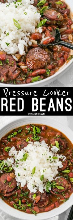 Pressure Cooker Red Beans are a fast, inexpensive, filling, and flavorful staple meal. I would just not add the sausage. It's a Louisiana tradition, but FASTER! Instant Pot Pressure Cooker, Pressure Cooker Recipes, Pressure Cooking, Crockpot Recipes, Cooking Recipes, Healthy Recipes, Cajun Recipes, Kid Cooking, Beans Recipes