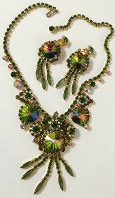 VINTAGE HUGE RIVOLI JULIANA RHINESTONE CRYSTAL NECKLACE AND EARRING SET #Juliana