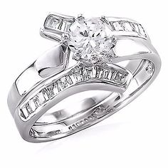 Caprina: 1.8ct IOF CZ Contemporary Flared Bypass 2 pc Wedding Ring Set 925 Silver, 3104A ** Remarkable product available now. : Fashion Jewelry