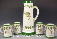 Limoges France Hand Painted Holly Berry Tankard Mugs Set   eBay