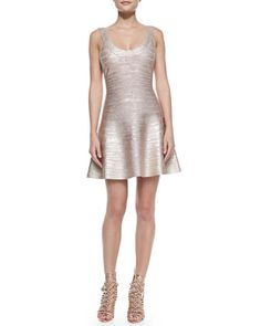 Flounce Skirt Bandage Dress, Rose Gold Combo by Herve Leger at Neiman Marcus.