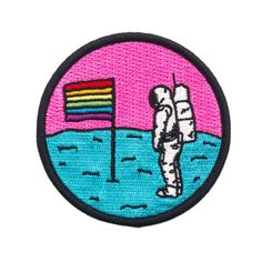 Queer Moon Astronaut Patch-Pretty Bad Co.-Strange Ways Cute Patches, Diy Patches, Pin And Patches, Iron On Patches, Jacket Patches, Embroidery Patches, Diy Embroidered Patches, Patch Design, Rainbow Pride