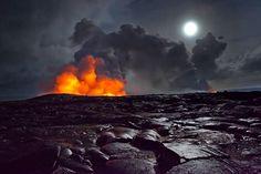 A Night Walk in #Lava Fields Samuel Feron #moon