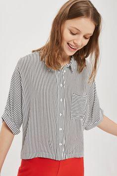 PETITE Stripe Short Sleeve Cropped Shirt