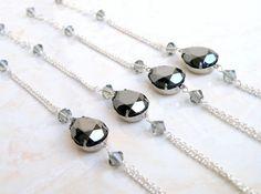 Grey Black Hematite Bracelet Pear Teardrop Stone in by SomsStudio, $33.00