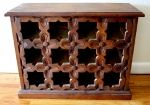 Antique South American Carved Wood Wine Rack – Pretty… This is a gorgeous antique South American wine rack.  It is artisan carved and made of solid wood.  It fits 12 bottles of wine.  Dimensions: 26″W x 11″D x 20″H  *SOLD*