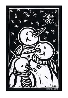 We Three Kings Hand Pulled Lino Relief by LindaCoteStudio on Etsy, $7.00