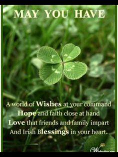 """""""May you have a world of wishes at your command, hope and faith close at hand, love that friends and family impart, and Irish blessings in your heart. Irish Prayer, Irish Blessing, Irish Birthday Blessing, St Patricks Day Quotes, Happy St Patricks Day, Saint Patricks, Irish Toasts, Irish Quotes, Irish Sayings"""