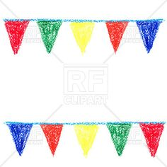 Party bunting painted with wax crayon, 55394, download royalty-free vector clipart (EPS)
