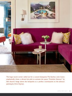 Hot pink banquette designed by Holly Hollingsworth Phillips of The English Room. Featured in www.peachythemagazine.com.