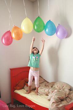 Birthday morning. Balloon rainbow.