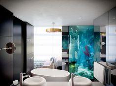Kameha Grand Zurich, Bathroom from a Deluxe Double Room. #KamehaGrandZurich #LifeisGrand #Lieblingsplatz #Hotelopening2015 #Zurich @kameha Business Centre, Grand Hotel, Hotel Offers, Mirror, Interior Design, Architecture, Kameha, Modern, Inspiration