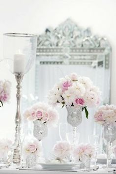 Gorgeous pink and white flower setting
