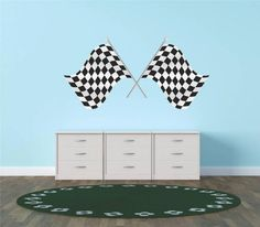 Decal - Vinyl Wall Sticker : Place Checkered Flag Race Car Speedway Track Boy Girl Children Kid Living Room Bedroom Kitchen Home Decor Picture Art Image Peel & Stick Graphic Mural Design Decoration - Size : 12 Inches X 24 Inches - 22 Colors Available -