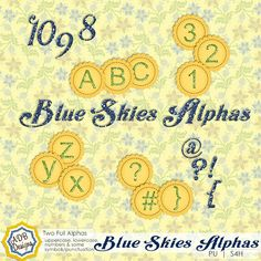 Blue Skies Alphas - $1.49 : Digital Scrapbooking Studio part of the Blue Skies Collection by #ADBDesigns