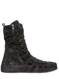 ANN DEMEULEMEESTER, BELTED BOOTS: black leather everything.