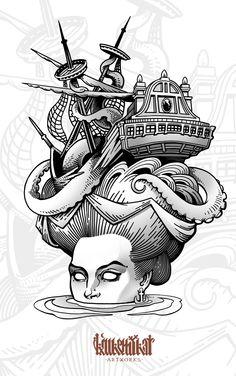 Neo-traditional tattoo flashset on Behance Traditional Nautical Tattoo, Traditional Ship Tattoo, Traditional Tattoo Flash, Sea Tattoo, Ocean Tattoos, Body Art Tattoos, Cool Tattoos, Tattoo Ship, Nautical Tattoo Sleeve