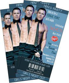 Hens Night Bachelorette Party Invitation ticket style Magic Mike Stripper Theme. Channing Tatum via Etsy