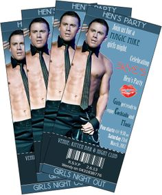Hens Night Bachelorette Party Invitation ticket style Magic Mike Stripper Theme. Channing Tatum via Etsy