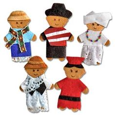 @WorldCrafts {South American Finger Puppet Set ~ Lifetouch Artistry ~ Indonesia} These hand-sewn finger puppets showcase the cultures of five South American countries: Peru, Bolivia, Chile, Ecuador, and Brazil. Perfect for educating children about international cultures, art, and role playing.  Handmade by artisans who are able to provide needed nutrition and schooling for their children. #fairtrade