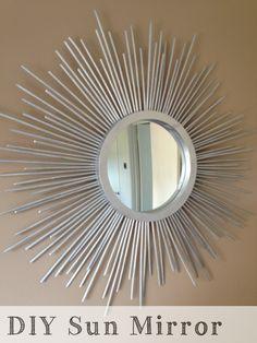 everyhomeisacastle.com: Sun Mirror...circle mirror and mini dowel sticks...so simple!