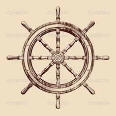 Vintage Ship Wheel Drawing Ship Steering Wheel Vintage