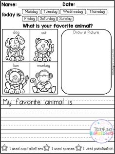 FREE 10 Kindergarten Writing Prompts with 2 option (A total of Pages). With sentence starters and without sentence starters for advance writers. This pack is great for beginning writers or struggling writers in kindergarten and in first grade to bu Kindergarten Writing Prompts, Daily Writing Prompts, Work On Writing, Persuasive Writing, Kindergarten Literacy, Teaching Writing, Writing Skills, Creative Writing, Sentence Writing