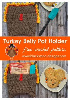 Turkey Belly Pot Holder free crochet pattern from Blackstone Designs  #crochet #freecrochetpattern #thanksgiving #turkey #turkeycrafts #crochetturkey #thanksgivingcrochet #thanksgivingdinner #potholders #crochetpotholders #DIYpotholders #thanksgivingdecorations #thanksgivingcrafts