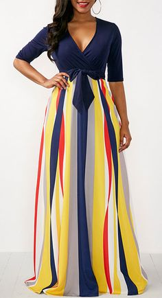 Printed V Neck Half Sleeve Maxi Dress