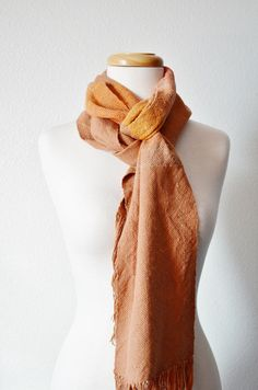 TERRACOTTA ARMY  Handwoven Scarf in Terracotta Clay. Unfortunately, whenever I process photos, all I can think of is how much I need to re-press every scarf.