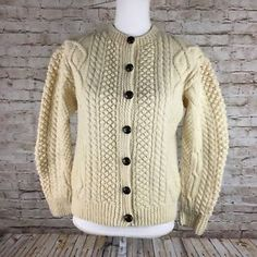 0adfd044659 Details about INIS CRAFTS Irish Merino Wool Button Cardigan Sweater sz  Large Chunky Cable Knit