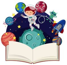 Illustration of Astronaut flying in space and blank book illustration vector art, clipart and stock vectors. Space Classroom, Classroom Themes, Painting For Kids, Art For Kids, Arte Do Sistema Solar, India World Map, Rocket Birthday Parties, Solar System Crafts, Alien Party